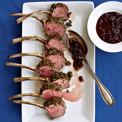 Herbed Rack of Lamb with Lingonberry Sauce