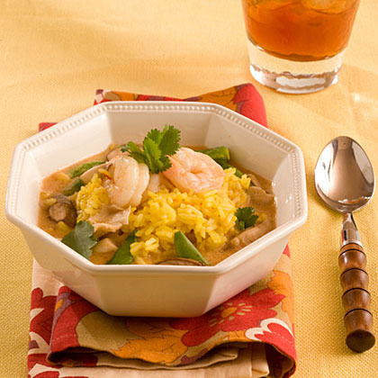 Saffron-Ginger Rice With Thai Red Curry Soup