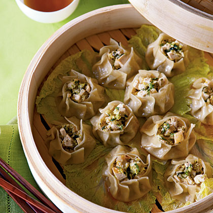 Steamed Vegetable Sui-Mai Dumplings with Chili-Sesame Oil