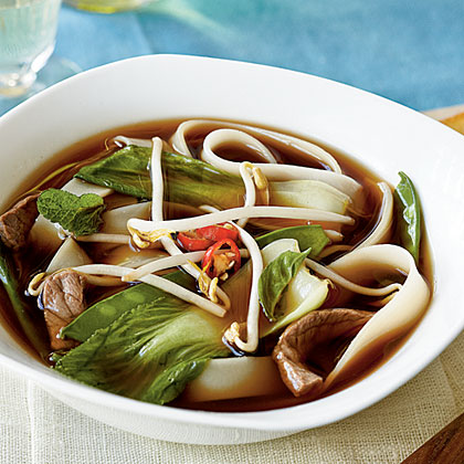 Vietnamese Beef-Noodle Soup with Asian Greens