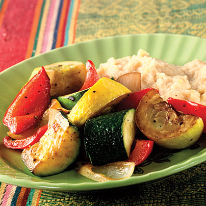 Cheesy Soft Polenta With Roasted Vegetables