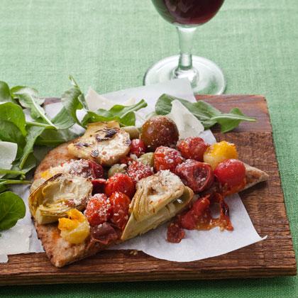 Roasted Tomato and Artichoke Flatbread Pizza