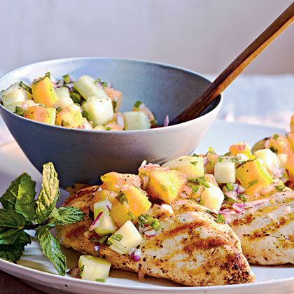 Grilled Chicken with Cucumber-Melon Salsa