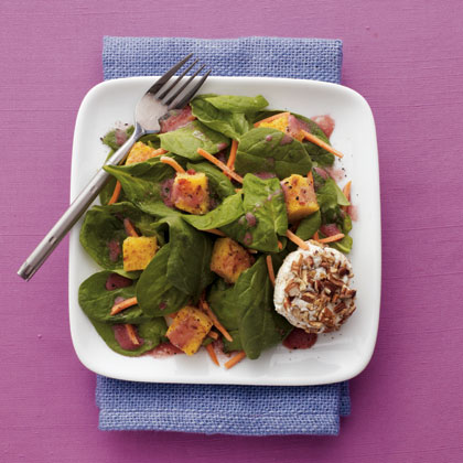 Pecan-Crusted Goat Cheese Salad with Pomegranate Vinaigrette