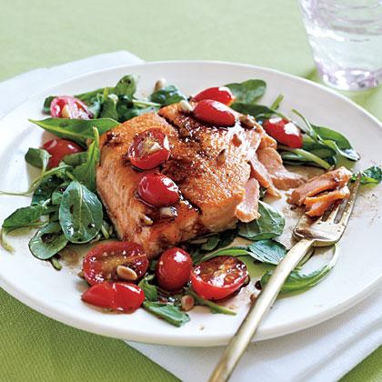 Sautéed Arctic Char and Arugula Salad with Tomato Vinaigrette