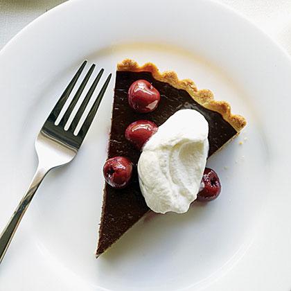 Dark Chocolate Tart, Cherries, and Almond Whipped Cream