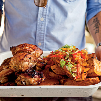 Marinated Chicken Thighs with Sweet Potato