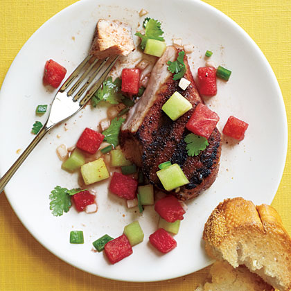 Grilled Pork Chops with Two-Melon Salsa
