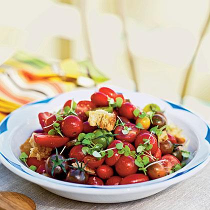 Heirloom Tomato, Baby Basil, and Sourdough Salad