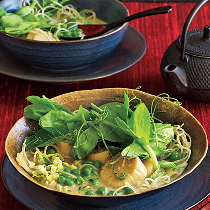 Coconut Noodles with Scallops and Pea Tendrils