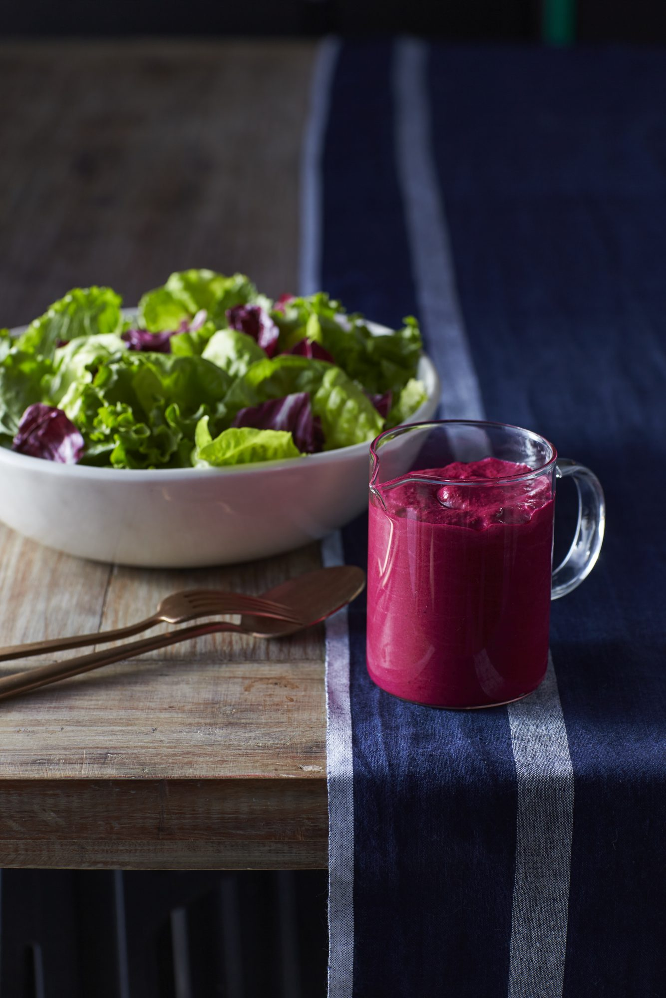Green Salad with Beet Dressing