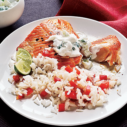 Arctic Char with Cilantro-Yogurt Sauce