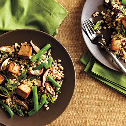 Toasted Barley, Green Bean, and Shiitake Salad with Tofu