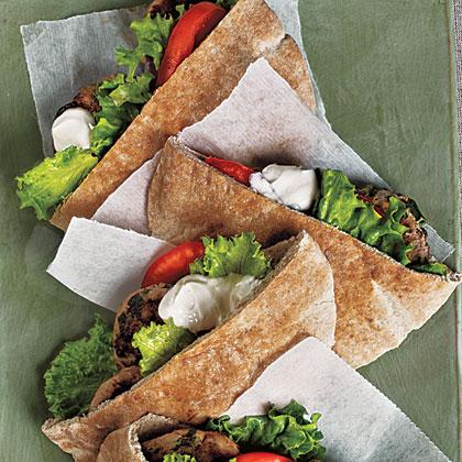 Turkey Burger Pitas with Tahini Sauce