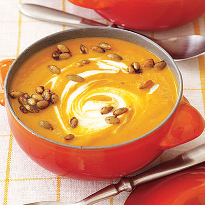 Curried Pumpkin Soup with Spicy Pumpkin Seeds