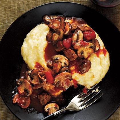 Mushroom and Sausage Ragu with Polenta
