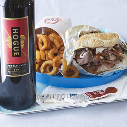 Pairing wine with a roast beef sandwich.