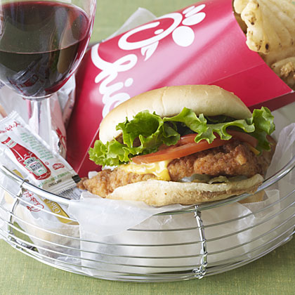Pairing wine with a chicken sandwich.