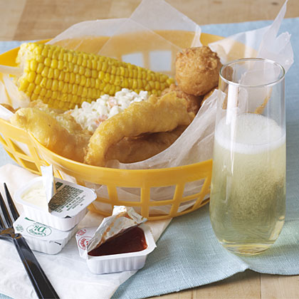 Pairing wine with fried fish.