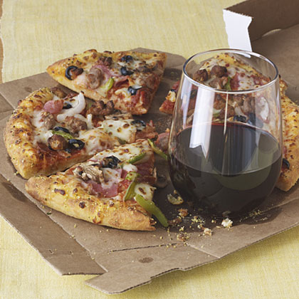 Pairing wine and pizza.