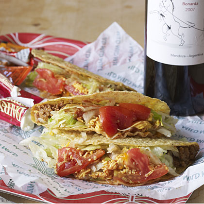 Pairing wine and beef tacos.