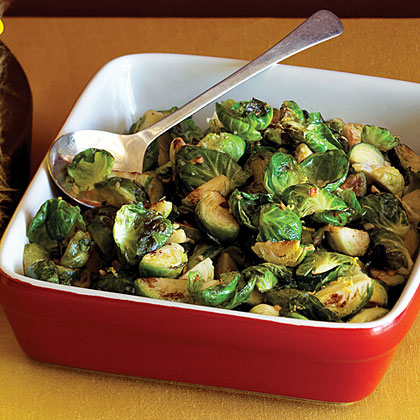 Warm Brussels Sprout Leaves with Toasted Garlic and Lemon