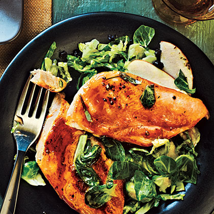 Maple-Glazed Chicken with Apple-Brussels Sprout Slaw