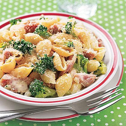 Creamy Pasta Shells with Broccoli and Ham