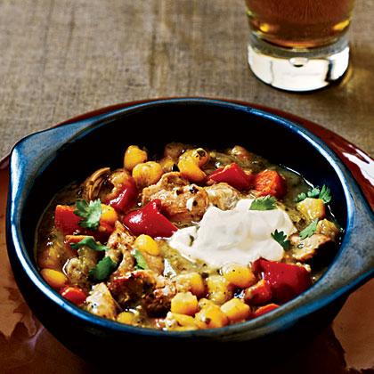 Chicken Verde Stew with Hominy