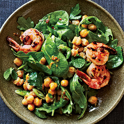 Crispy Chickpea Salad with Grilled Prawns