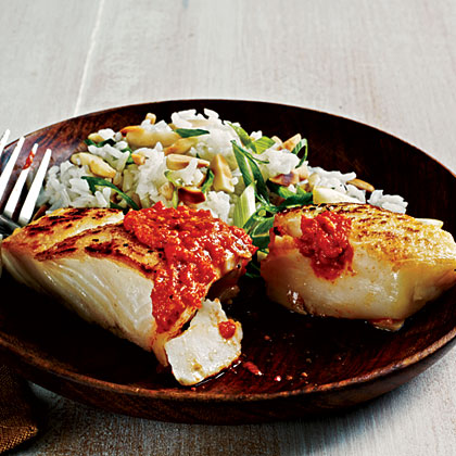 Sauteed Halibut with Romesco Sauce