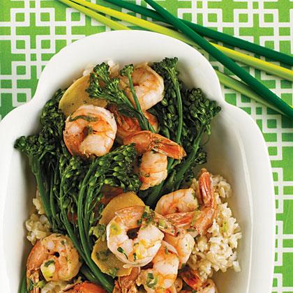 Shrimp Sautéed with Broccolini