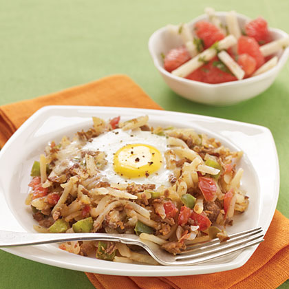 Meatless Hash and Eggs