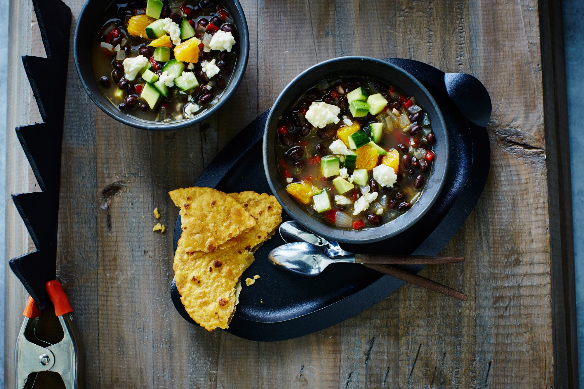 Black Bean Soup with Avocado, Orange, and Cucumber