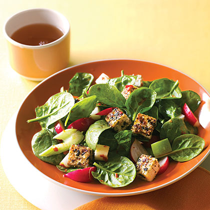 Spinach Dinner Salad with Sesame Tofu