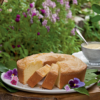 Buttermilk Pound Cake with Custard Sauce