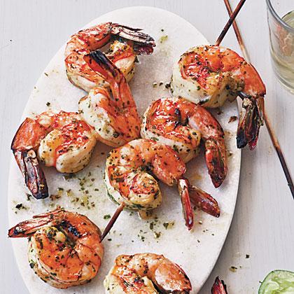 Broiled Herb-Marinated Shrimp Skewers