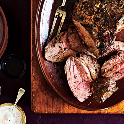 Garlicky Leg of Lamb with Yogurt Sauce