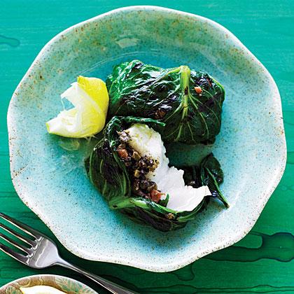 Grilled Halibut, Lettuce, and Tapenade Bundles