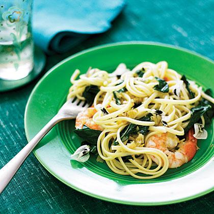 Linguine with Fava Greens, Shrimp, and Green Garlic