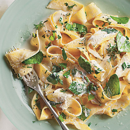 Pappardelle with Baby Spinach, Herbs, and Ricotta