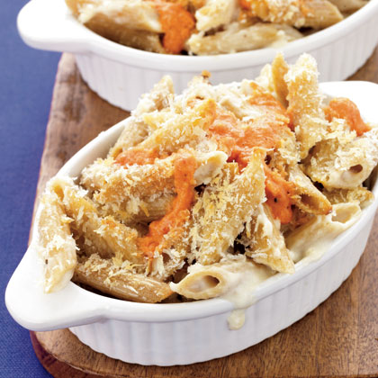Baked Two-Cheese Penne with Roasted Pepper Sauce