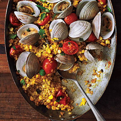Paella with Poblanos, Corn, and Clams