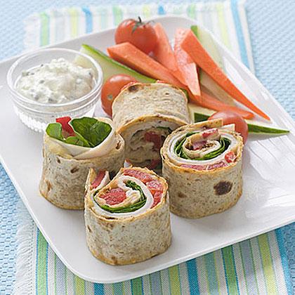 Hummus and Turkey Pinwheel Sandwiches