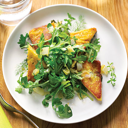 Chickpea Cake with Fava Leaves and Arugula Salad