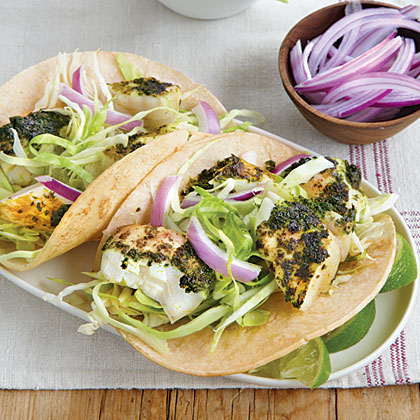 Chimichurri Halibut Tacos