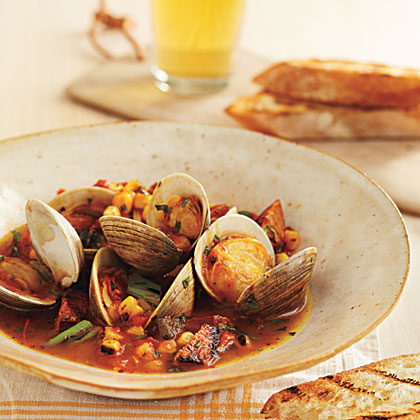 Grill-Braised Clams and Choirzo in Tomato-Saffron Broth
