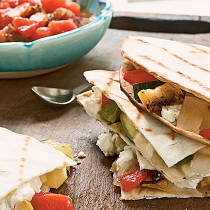 Grilled Pepper-and-Squash Quesadillas