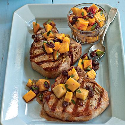 Grilled Pork Porterhouse with Peach Agrodolce