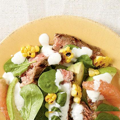 Grilled Steak-Corn-Spinach Salad